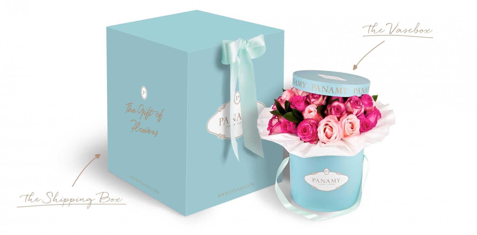 boîte d'expédition - PANAMY livraison des fleurs en Suisse , Geneve, Lausanne, Montreux, Zürich, Bale
