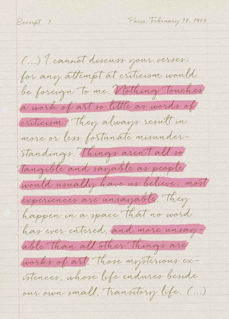 Rainer Maria Rilke, Letters to a young poet - Excerpt 1 - The Movement - PANAMY - Florist Geneva Switzerland