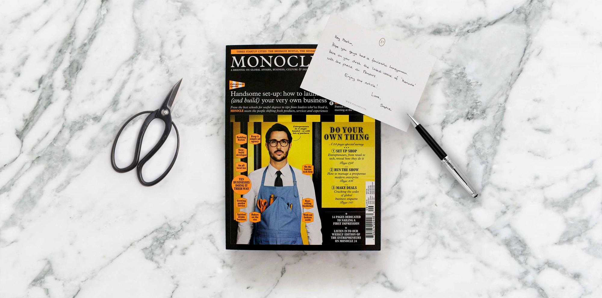 PANAMY dans le numéro de septembre de Monocle - Livraison Fleurs en Suisse - PANAMY Geneve, Lausanne, Bale, Zürich, Sion, Montreux, Fribourg