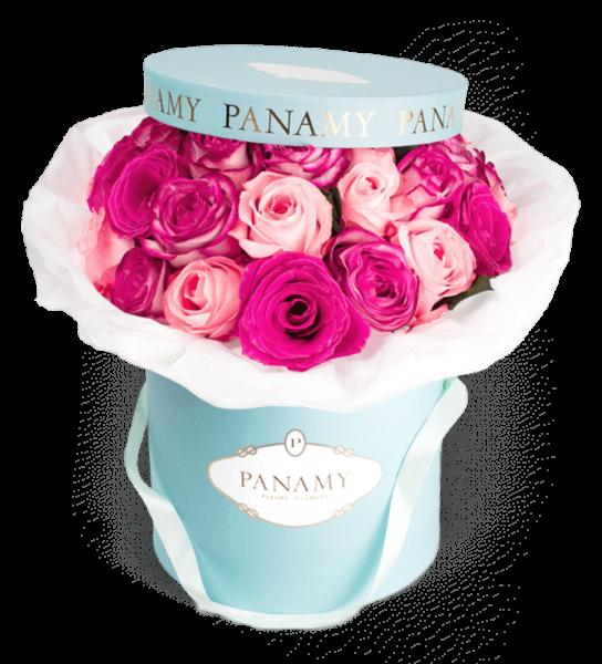 PANAMY-Blumenversand-Zürich-Fontanella-Rosenbox-Pinke-Rosen