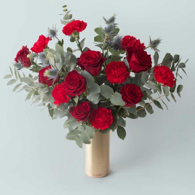 """Das """"Il Vermiglio"""" Bouquet - mit der """"Ottonino"""" Vase - Flowerbag Kollektion - PANAMY Blumenversand Schweiz"""